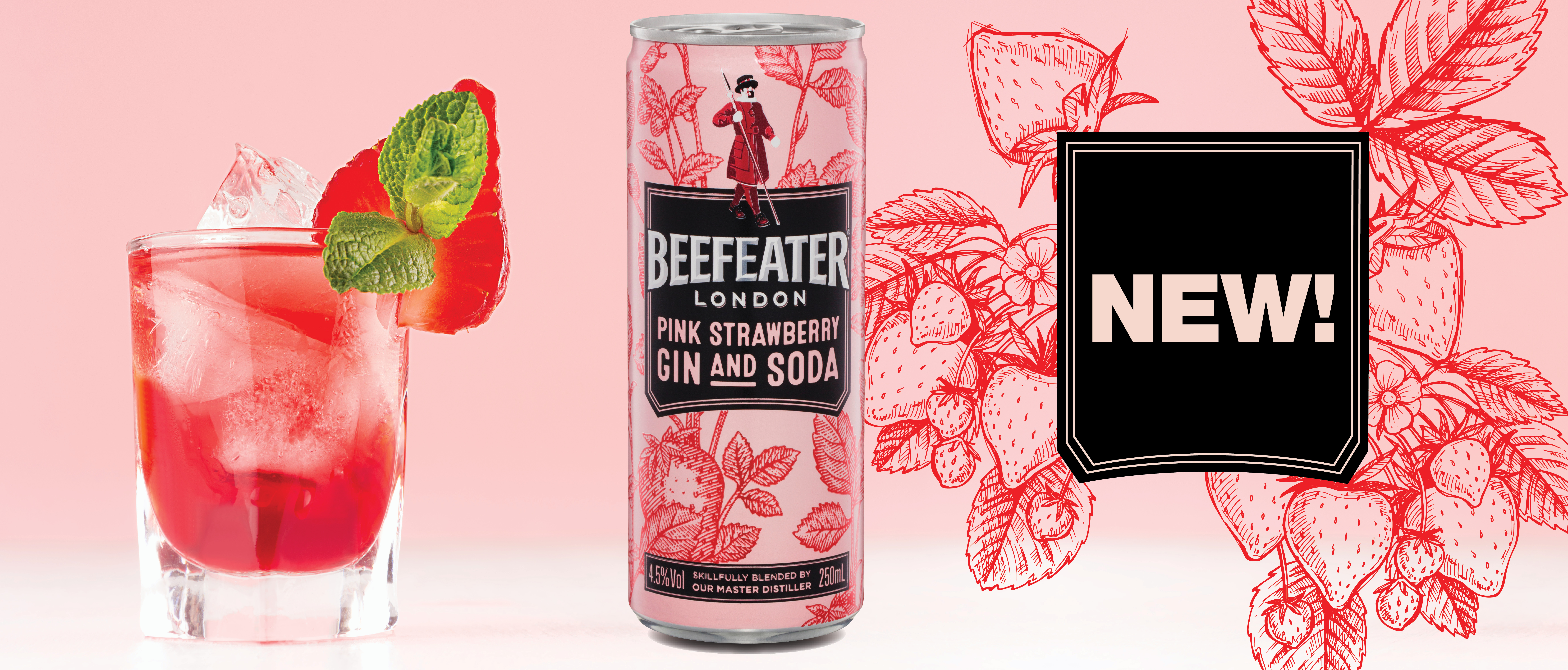 Beefeater Gin Pink Strawberry & Soda 4.5%