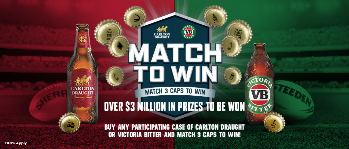 MATCH ANY 3 CAPS TO WIN!*